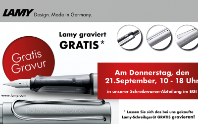 Gratis Lamy-Gravuraktion am 21. September 2017!